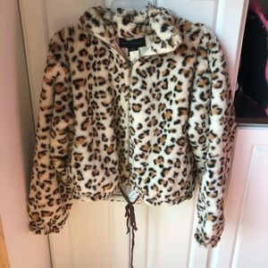 NWT Victoria Secret pink large leopard fur jacket